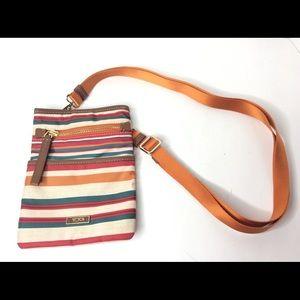 Tumi Striped Adjustable Crossbody Small Bag Purse